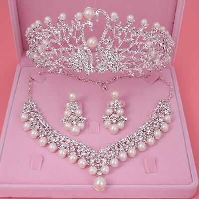 Simulated Pearl Gorgeous Wedding Necklace Earrings Crown Big Jewelry Crystal (Gorgeous Pearl Set)