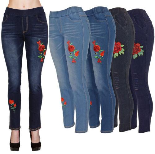 Womens 4 Pocket Stretch Denim Jean Pants W Rose Design Slim Pull-on Jeggings