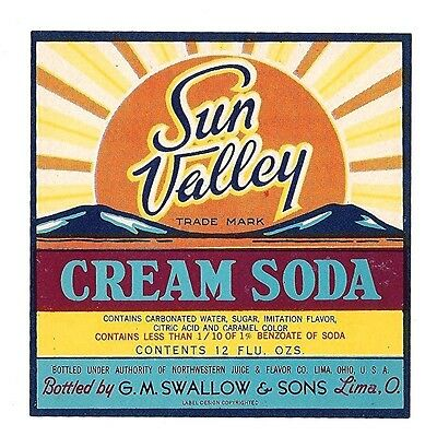Sun Valley Cream Soda Bottle Label Swallow Lima Ohio