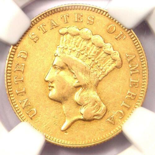 1866 Three Dollar Indian Gold Coin $3 - Certified NGC AU53 - $2,475 Value!