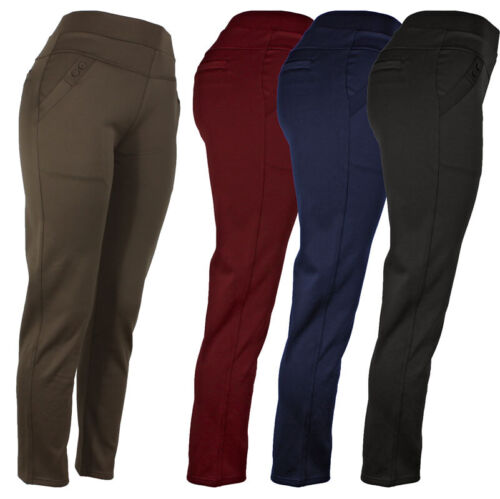 Womens Stretch Dress Pants, 4 Pocket Solid Pants With Button Decoration