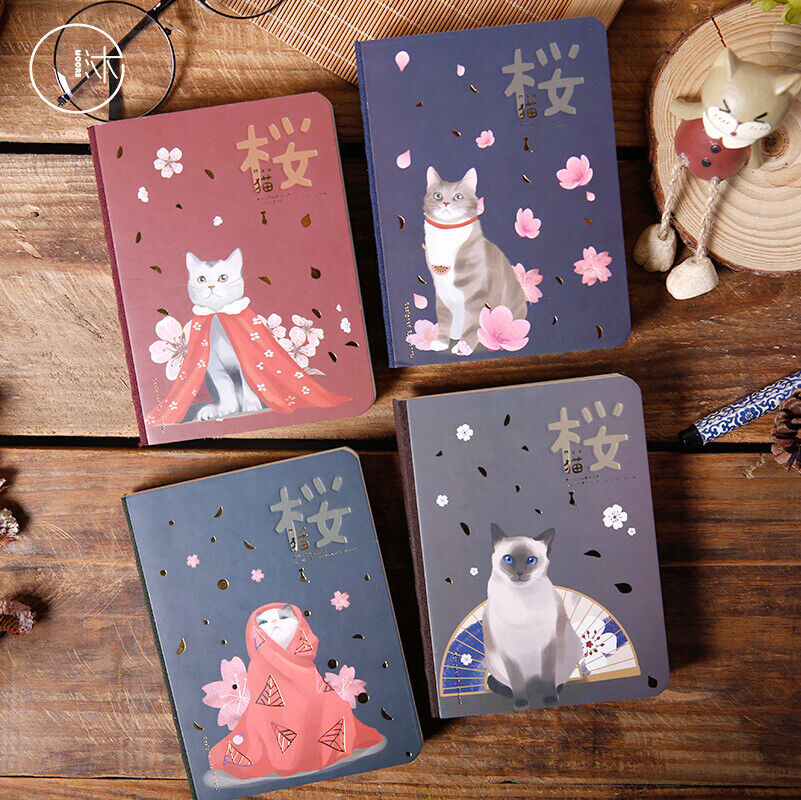 Japanese Hardcover Notbook Small Cute Cat Cherry Series Diary