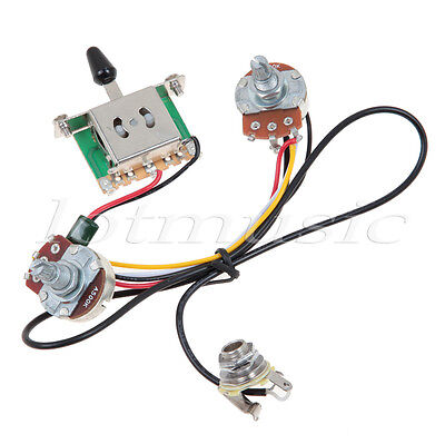 3 way blade switch two pickup guitar wiring harness 500k w 2 pickup harness 500k 3 way blade switch prewired harness features two 500k alpha quarter size pots 18mm shafts for mounting