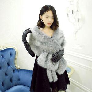 Grey Bridal Wedding Shrug Scarf Faux Fur Shawl Stole Wrap Cape Long Warm Elegant