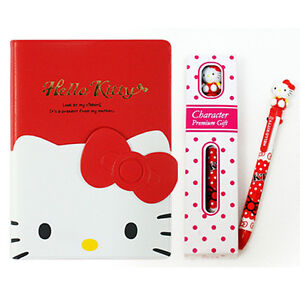 2014-Hello-Kitty-Face-Pocket-Schedule-Planner-Diary-Book-4in1-Multi-Pen-Set-RED