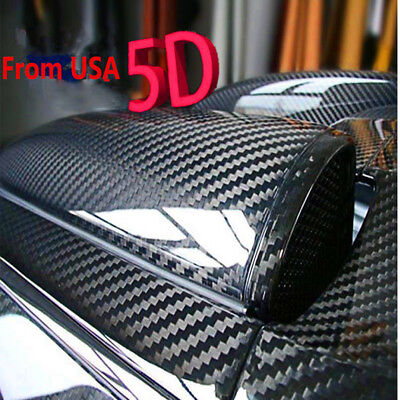 Car Accessories CARBON FIBER Self Adhesive Vinyl Sticker Wrap Hood Roof 5D BLACK