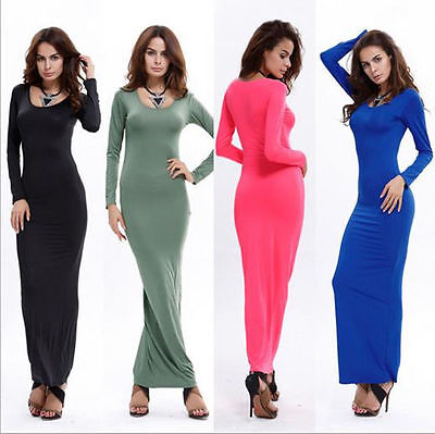 New Women Casual Long Sleeve Maxi Evening Cocktail Party Bodycon Long Dresses