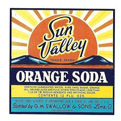 Sun Valley Orange Soda Bottle Label Swallow Lima Ohio