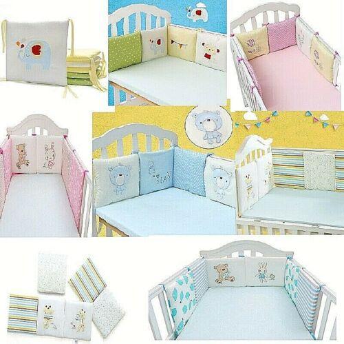 Baby Crib Bumper Safe 6 Pads Boy Girl 100% COTTON Thicker Padding Many Designs