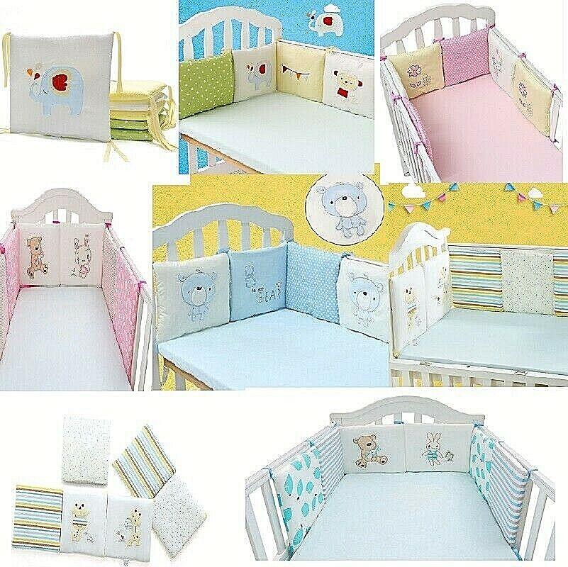 Baby Crib Bumper Safe 6 Pads Boy Girl 100% COTTON Thicker Padding Many Designs Baby