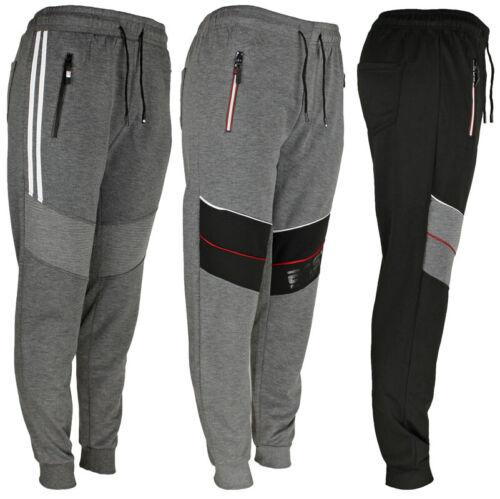 Mens Track Jogger Draw String Sweat Pants Running Active Sports, Zipper Pockets