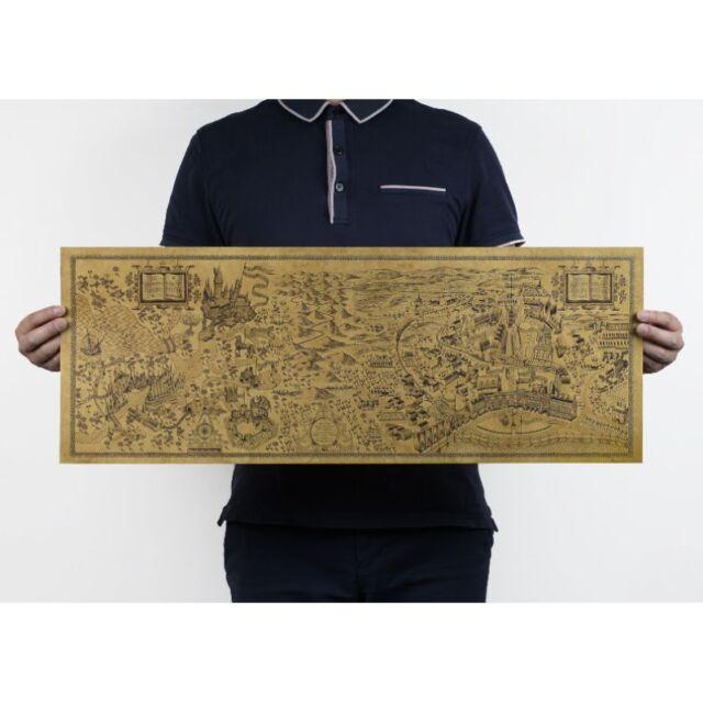 Retro Harry Potter Magic Old World Map Brown kraft Paper Wizarding Poster 72x26c