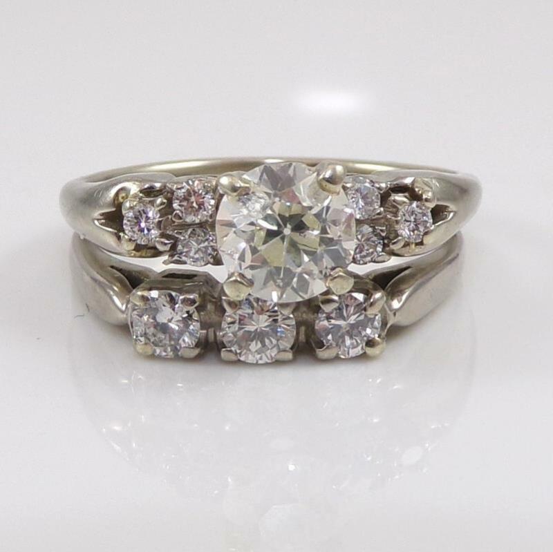 Vtg Antique 18K White Gold Ring European Cut Diamond Wedding Set Size 8 LHC2