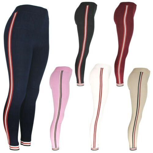 High Waist Womens Leggings With Side Strip, Fashion Slim Stretch Jegging