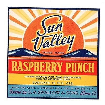 Sun Valley Raspberry Punch Soda Bottle Label Lima Ohio