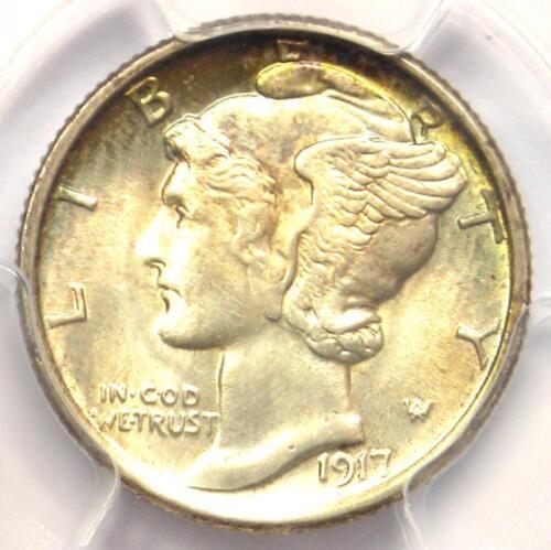 1917-S Mercury Dime 10C - PCGS Uncirculated Details (UNC) - Rare MS BU Coin!