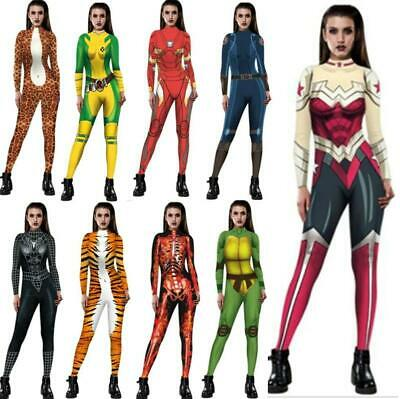 Womens 3D Print Catsuit Jumpsuit Zentai Bodycon Fancy Dress Halloween Cosplay US ()