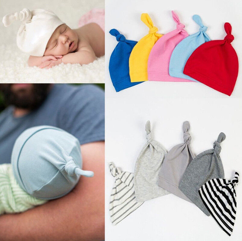 New Baby Knotted Beanie Hat Boys Girls Soft Cotton Cap Infant Toddle ... 8e9b93b88eaa