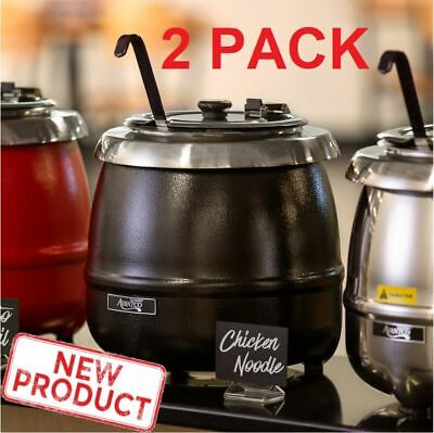 2 Pack Soup Kettle Pot Warmer 11 Qt Commercial Restaurant Food Kitchen Warm Stew