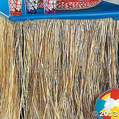 2 Real RAFFIA Natural Grass Table Skirts (18 FT) Hawaiian Luau Party Beach Decor - Raffia Table