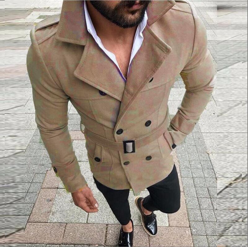 Winterjacke Business Sakko Details Trenchcoat Mantel Slim Jacke zu Winter Herren Zweireihig 08nNmw