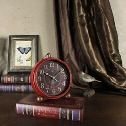 Small Antique Clock Vintage Desk Arabic Table Silent Non Ticking Battery Quartz