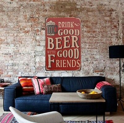 Aluminium Vintage Sign Drink Good Beer With Good Friends Man Cave Pub Bar DL5 ()
