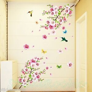 CHERRY FLOWERS REMOVABLE ROOM WALL ART STICKERS VINYL DECALS HOME DECORATION
