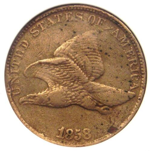 1858/7 Flying Eagle Cent 1C Overdate Penny LDS - Certified ANACS VF30 Details!