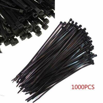Set Black 1000pcs 3x100mm Nylon Plastic Zip Wrap Cable Tie Wire Self-locking Ntm