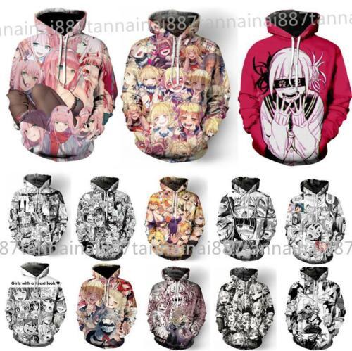 Hot Men Women 3D Print Anime Ahegao Funny Casual Hoodie Sweatshirt Pullover Tops