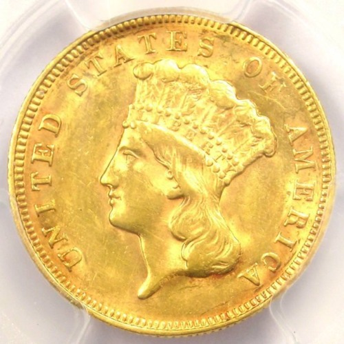 1878 Three Dollar Indian Gold Piece $3 - PCGS AU Details - Rare Coin - Near MS!