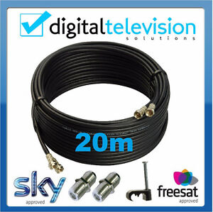 20m SKY+ or HD twin shotgun Satellite cable black NEW ! TV Satellite coax cable
