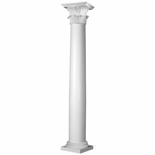 Fiberglass Smooth Tapered Column, Temple of Winds Cap & Attic Base (Choose Size)