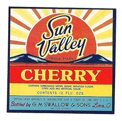 Sun Valley Cherry Soda Bottle Label Swallow Lima Ohio