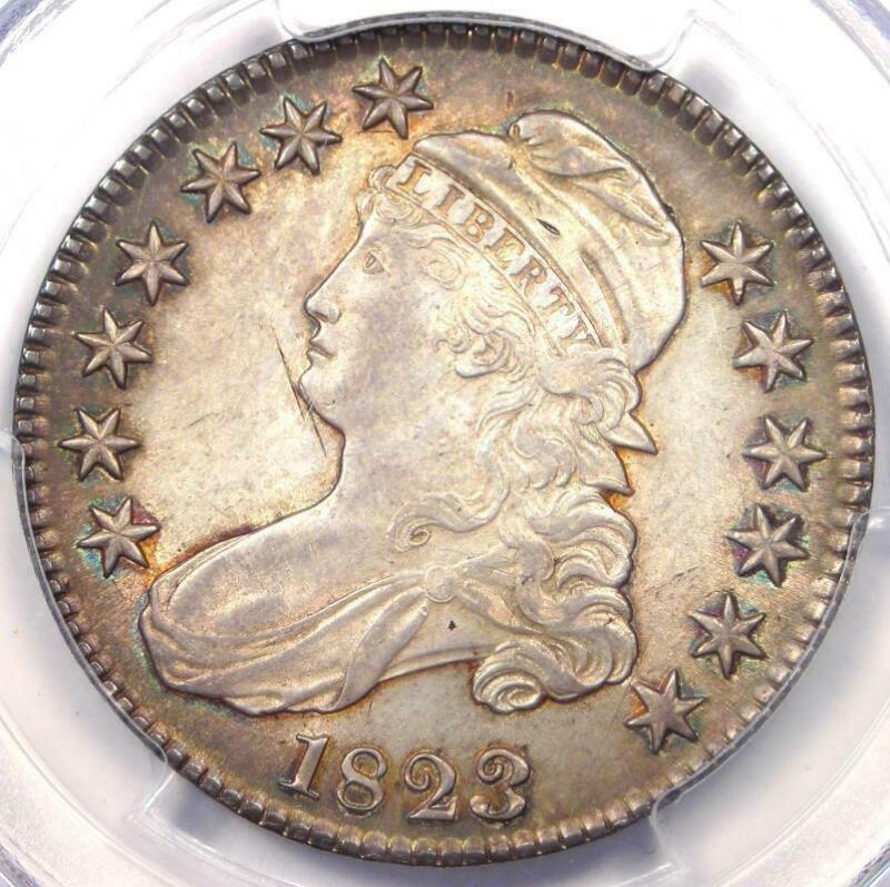 "1823 ""Broken 3"" Capped Bust Half Dollar 50C - PCGS AU Details - Original Luster!"