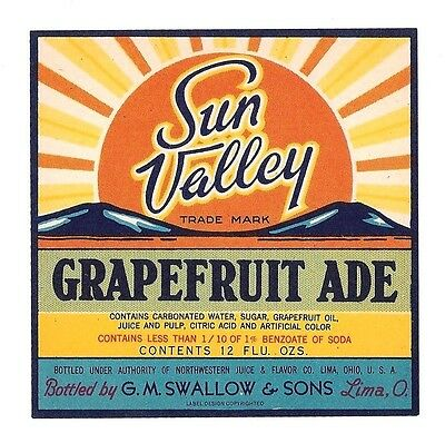 Sun Valley Grapefruit Ade Soda Bottle Label Lima Ohio