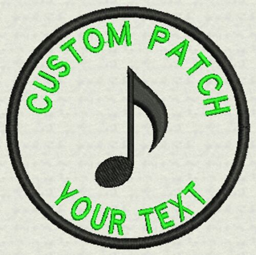 """3"""" Circle Custom Embroidery Music, Tag, Patch, Badge  Iron On or Sew On"""