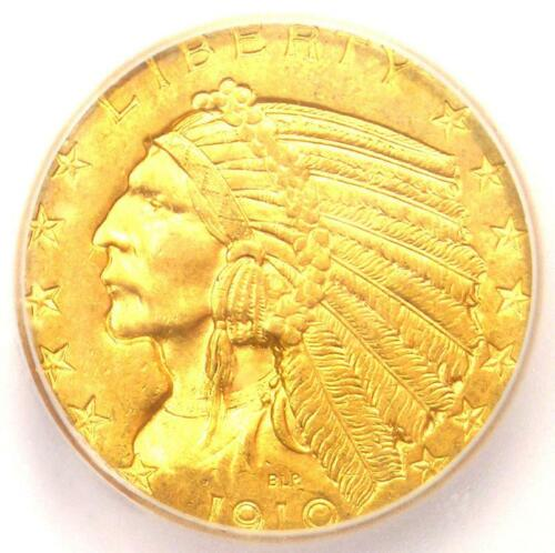 1910-D Indian Gold Half Eagle $5 Coin - ICG MS64 - Rare in MS64 - $9,090 Value!