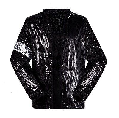 US Size Michael Jackson Billie Jean Jackets Sequins Costumes Unisex Adults Child