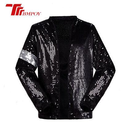 Kids Billie Jean Costume (Unisex Michael Jackson Billie Jean Jackets Pants Sequins Costumes Child)