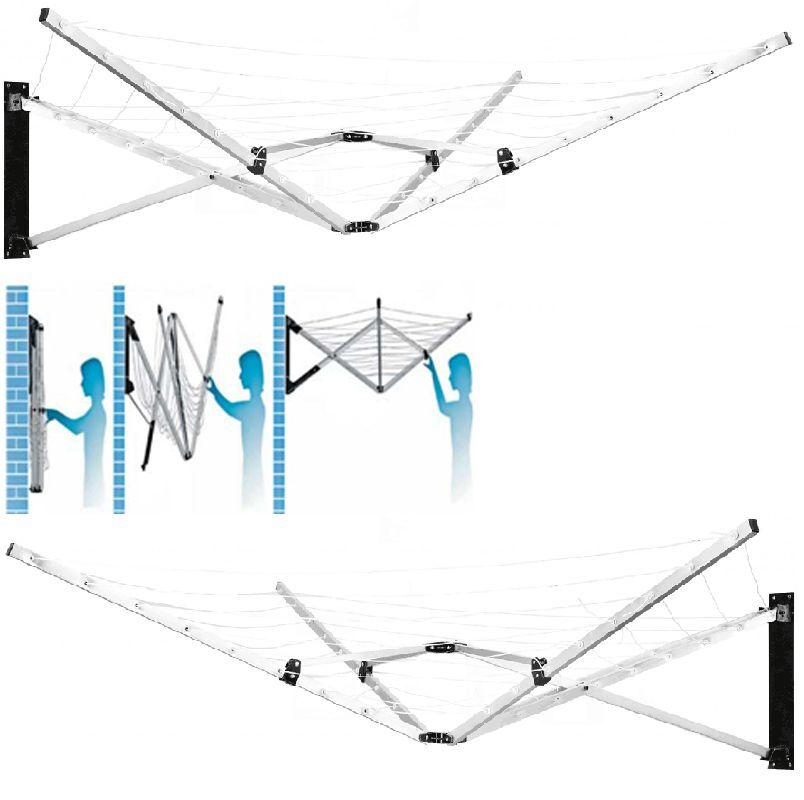 wall fix 5 arm wall mounted rotary dryer 26m clothes. Black Bedroom Furniture Sets. Home Design Ideas