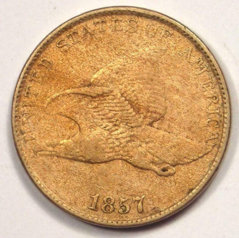 1857 Flying Eagle Cent Penny 1C - AU Details - Rare Coin!