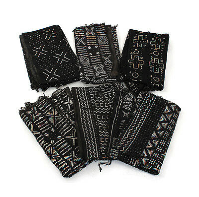 "Authentic Black/White Mudcloth Fabric African Mali Mud Cloth Handwoven 42""x 62"""