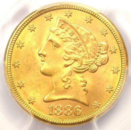 1886-S Liberty Gold Half Eagle $5 Coin - Certified PCGS MS65 - $3,850 Value!