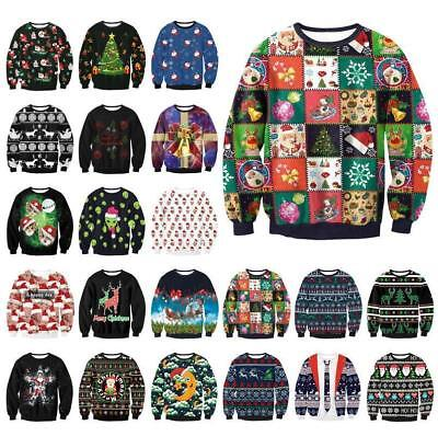 Funny UGLY Christmas Sweater Womens Mens Sweatshirt Long Sleeve Pullover Tops](Mens Funny Christmas Sweaters)