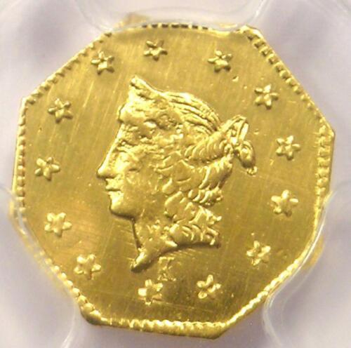 1858 Liberty California Gold Dollar G$1 BG-1306. PCGS Uncirculated Dets (UNC MS)