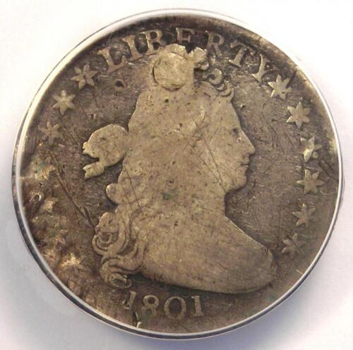 1801 Draped Bust Dime 10C - Certified ANACS VG8 Details - Rare Coin!