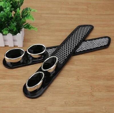 2PCS BLACK Universal Car Exhaust Pipe Air Flow Intake Grille Fender Vent IN9X