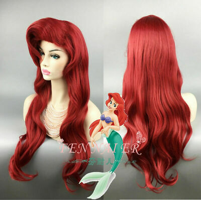 Little Mermaid Wig (Little Mermaid Ariel Wig Dark Red 70cm Long Curly Wavy Hair Cosplay Wigs + Cap)